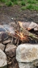 a successful trash fire using old candle stubs for starters; a lesson from my hike with Anna