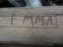 Emma claims she didn't do it; a popular name these days; on the bridge railing at Calypso Cascades