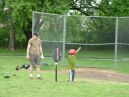 Coach Nate (for some reason a bit fuzzy) passes on his baseball knowledge to one of Hannes teammates.
