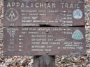 the trail sign as it leaves I-40; the section that Larry and Will hiked in 2002 was too far north of this location to be on the sign; the Davenport Gap shelter is the last one inside Smoky Mountain NP