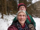 selfie on a very steep trail; Larry/Dad is not on tiptoe