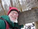 selfie on reaching the Chimney Tops trail junction and the promise of easier hiking the rest of the way
