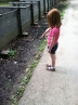 At the Cade's Cove Cable Mill. Sarah was entranced by the tiny blue butterflies by the walkway.