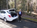 the Nissan Versa rental at the Little River trailhead on Thursday, 2/7
